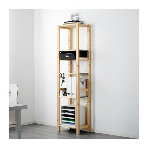 IVAR Shelving unit with drawers IKEA Untreated solid pine is a durable natural material that can be painted, oiled or stained according to preference.