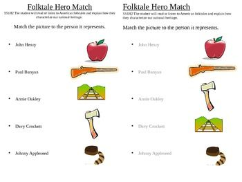 Match the picture to the American folktale hero that it represents.  Includes John Henry, Paul Bunyan, Annie Oakley, Davy Crockett and Johnny Appleseed.  Perfect for a tall tale or folktale unit.