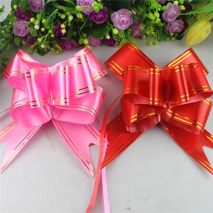 2017 NEW Length 80*5 cm (10pcs/lot) Ribbon Pull Bow artificial flower home wedding party car decoration crafts flowers #Affiliate