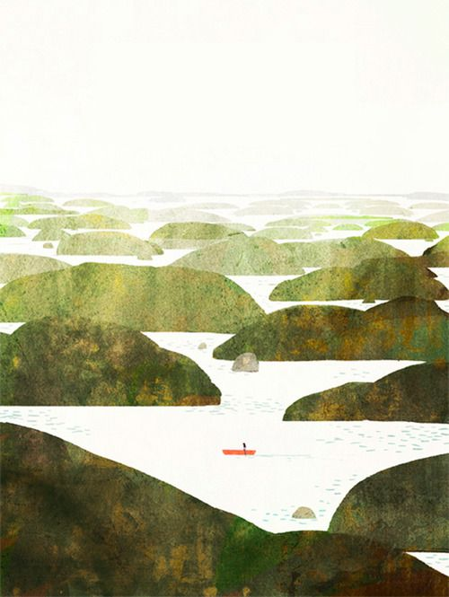 Jon Klassen Great example of how things get paler and and smaller as they recede. Good for an art lesson.