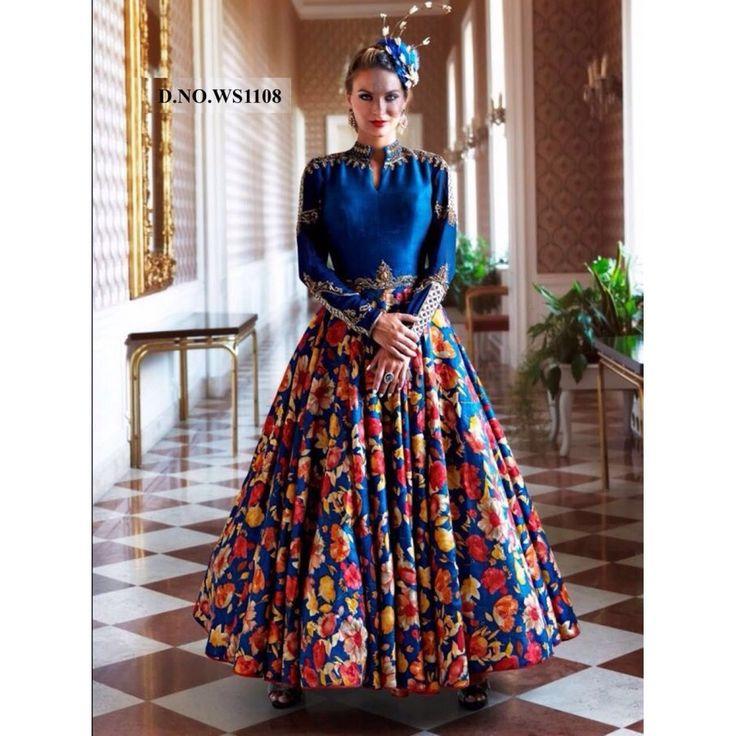 Striking Satin Silk, Digital Print Blue Color Khatli Work Anarkali Style Gown at just Rs.2624/- on www.vendorvilla.com. Cash on Delivery, Easy Returns, Lowest Price.