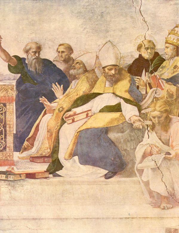 St. Augustinus van Hippo. - 1420/30(?) Plafondschildering door Ottaviano Nelli. Italië, Gubbio, Sant 'Agostino Augustinus dicteert (over eucharistie: rechts van hem Ambrosius in extase voor de Eucharistie).