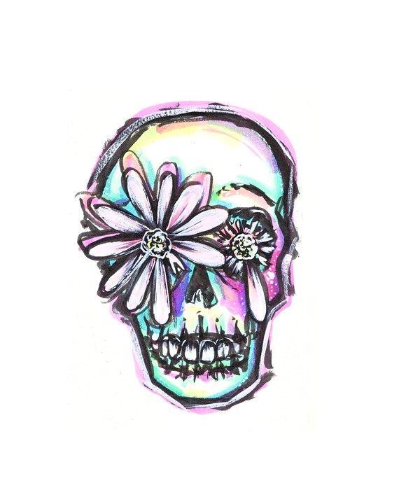 8X10 Print  Daisy Love Skull by zombieromance on Etsy, $12.00 Dia de Los muertos art