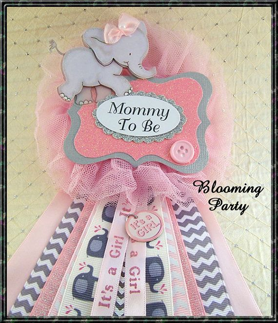 Pink Elephant Mommy To Be Corsage Elephant Baby by BloomingParty