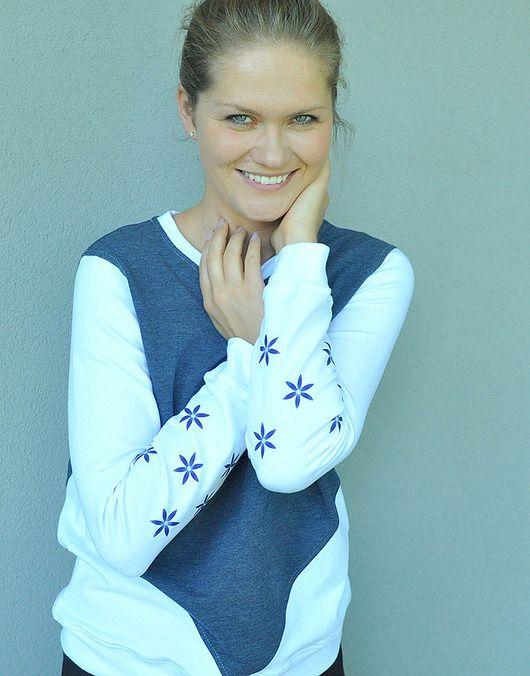 NAVY & WHITE / bluza z grafiką odblaskową