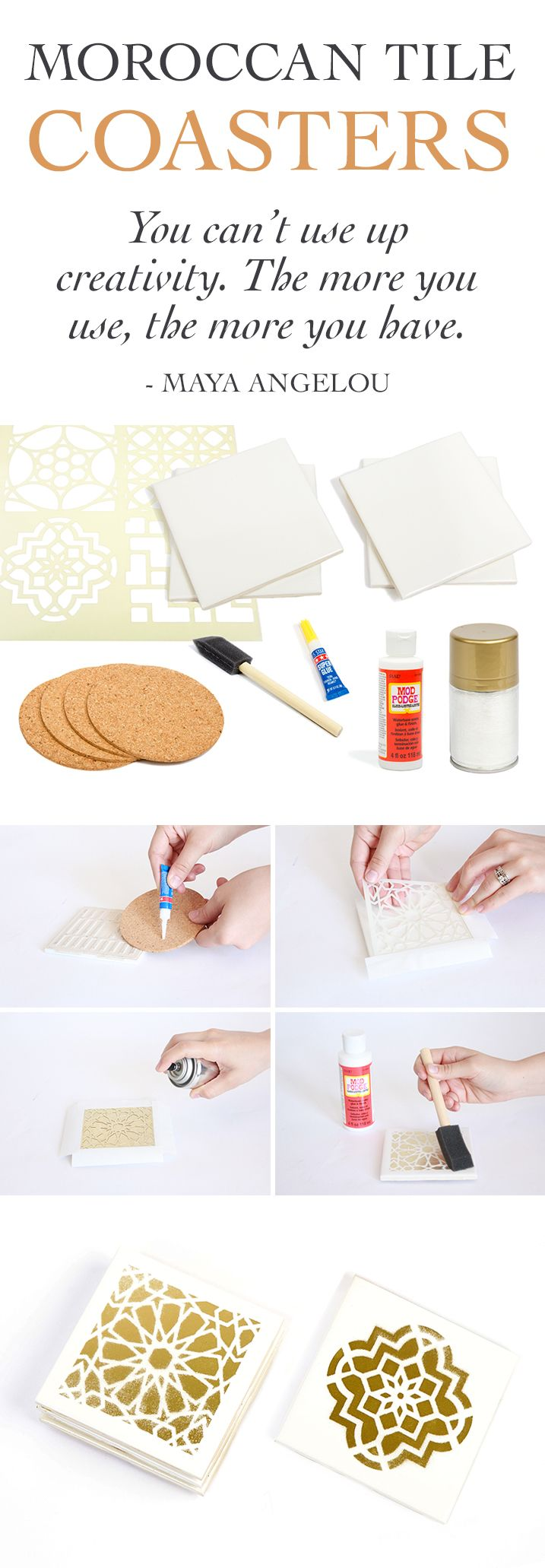 Make Moroccan tile coasters using a DIY Decor Kit by Darbysmart.com