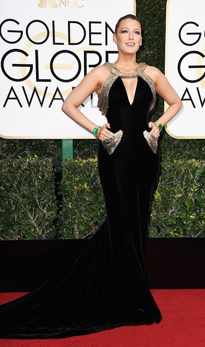 Golden Globes 2017:  WHO: Blake Lively WEAR: Atelier Versace custom black velvet gown with chainmail accents encrusted with Swarovski crystals.