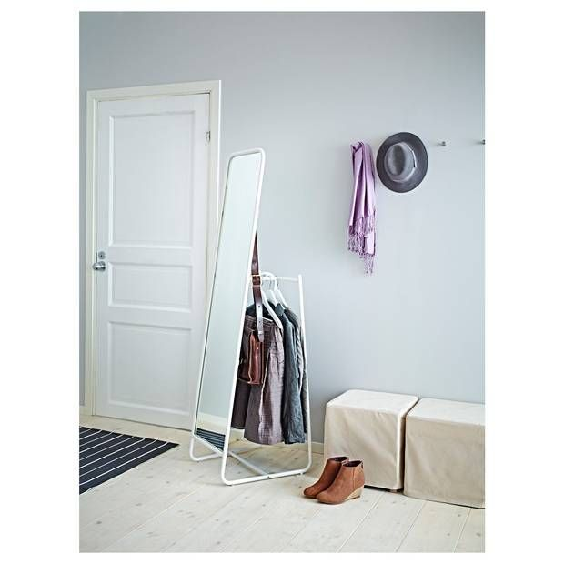 minimalist mirror and clothing rack from IKEA