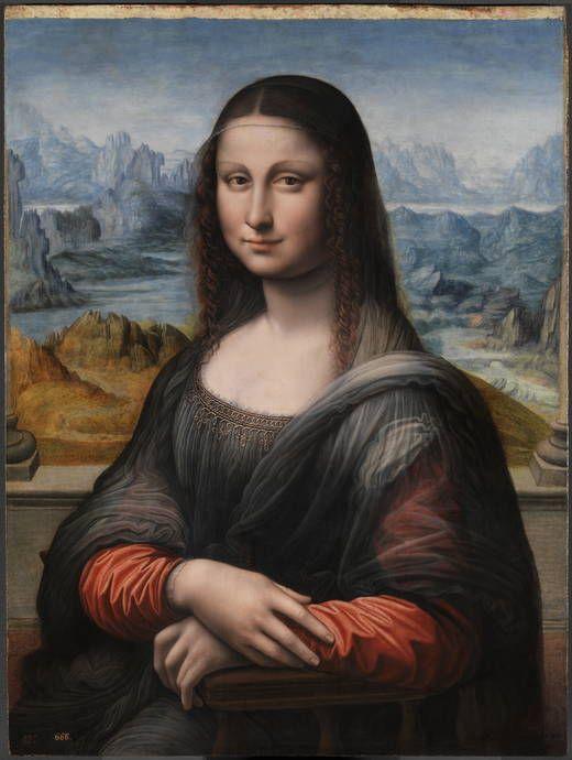 La Gioconda (copia), Taller de Leonardo da Vinci. H.1503-16.  Óleo sobre tabla de nogal, 76,3 x 57cm, 18mm de grosor.  Museo del Prado. Madrid
