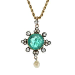 LOT:82   A late 19th century gold and silver emerald, diamond and split pearl pendant.