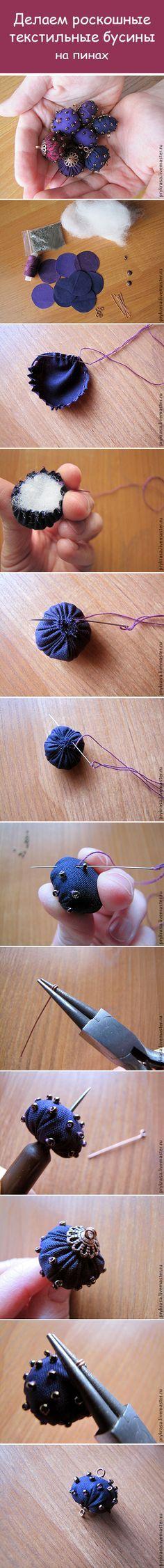 Как сделать текстильные бусины / How to make textile beads #beads #maserclass…