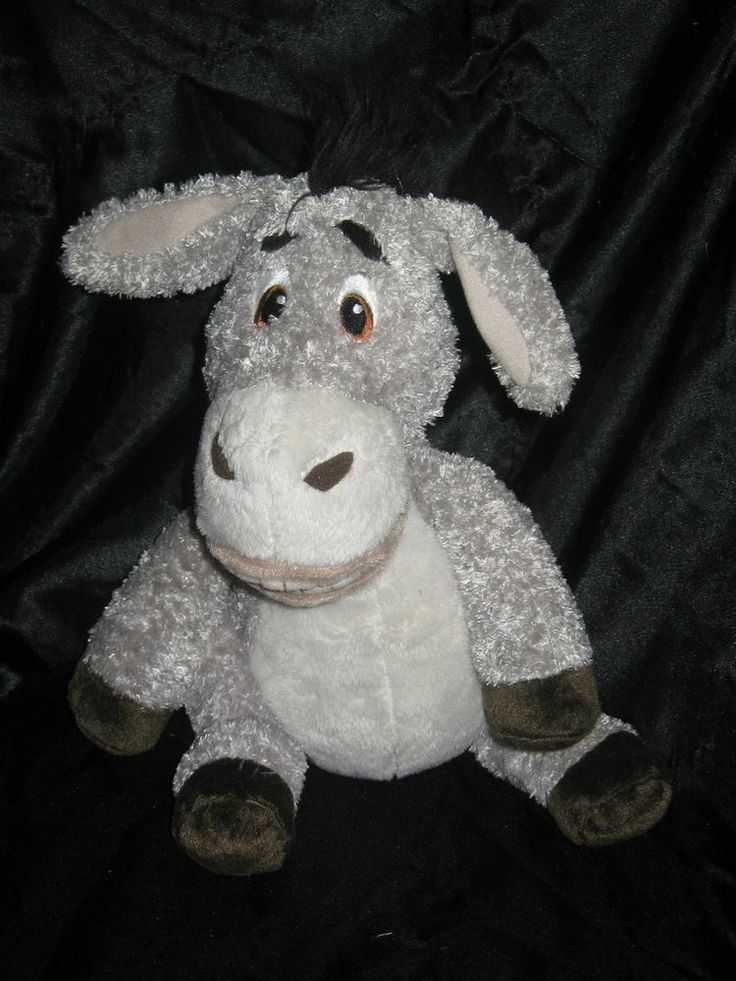 Shrek the third plush donkey bean bag toy embroidered eyes