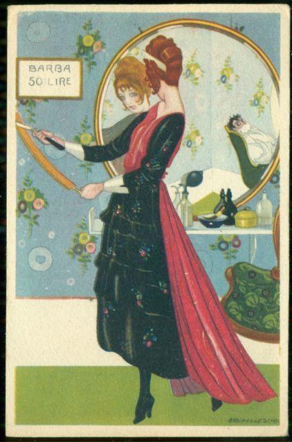 Brunelleschi Art Deco Postcard Italian Barber Woman | eBay