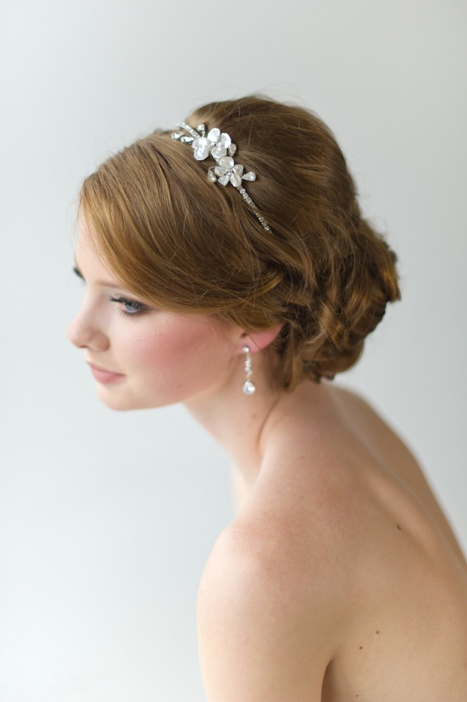 Bridal Headband, Tiara, Freshwater Pearl and Crystal Headband, Wedding Hair Accessory. $49.00, via Etsy.