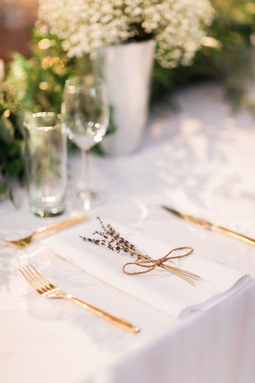 Wedding Place Setting - Gold Flatware, Lavender, and Floral  Photo from Jess & Francis collection by 1486 Photography