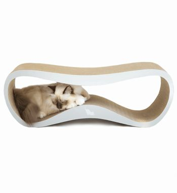 NEW! The LUI cardboard cat scratcher and lounger by myKotty is a stylish, multifunctional piece of cat furniture that playful pussies will love getting their claws into.