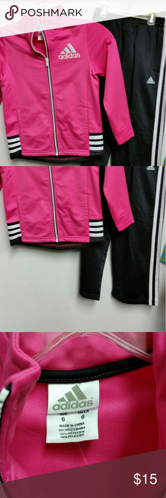 Adidas girls tracksuit vguc sz 6 Pink zip up jacket and black pants stretch waist Adidas Matching Sets