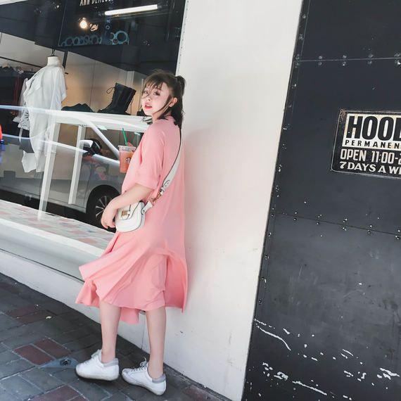크리스탈 사라 집 2017 새로운 도착 느슨한 핑크색 대형 드레스 긴 여성 짧은 소매 치마 지방 mm 여름 여름