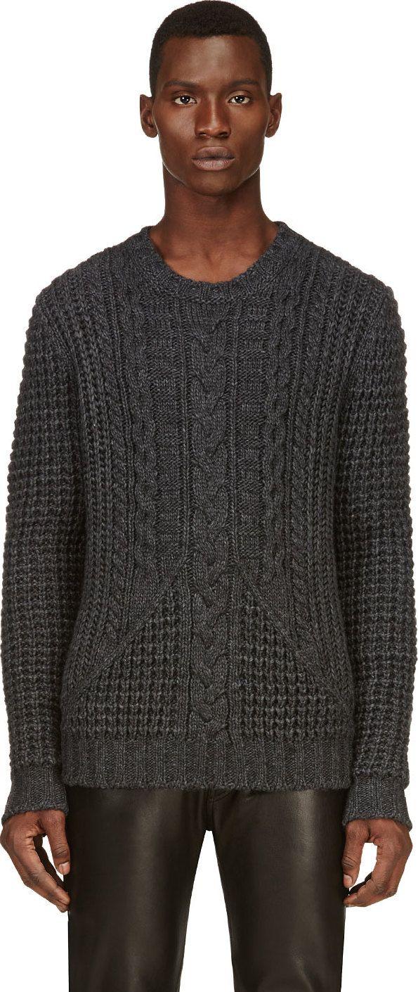 Pierre Balmain: Charcoal Grery Cableknit Sweater   SSENSE