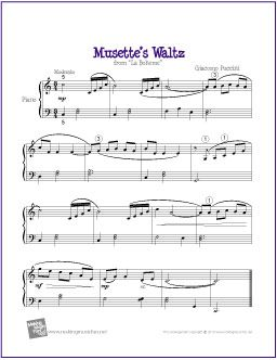 Musette's Waltz (La Boheme) by Puccini | Free Sheet Music for Piano - http://makingmusicfun.net/htm/f_printit_free_printable_sheet_music/musettes-waltz-piano.htm