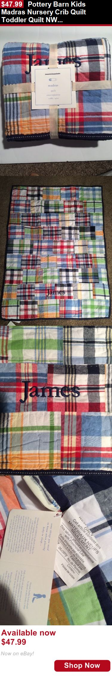 Quilts And Coverlets: Pottery Barn Kids Madras Nursery Crib Quilt Toddler Quilt Nwt James BUY IT NOW ONLY: $47.99
