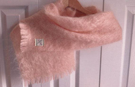 Vintage YARROWVALE MOHAIR SCARF Pale Peachy by CreativeWorkStudios, $25.00