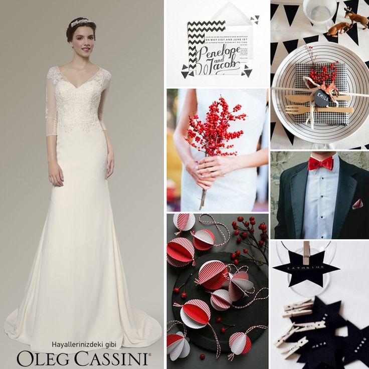 Dar kesim sade ve şık gelinliğinizi, siyah, beyaz ve kırmızı renkler ile hazırlanmış modern bir düğün konseptiyle tamamlayabilirsiniz.Gelinlik için; www.olegcassini.com.tr