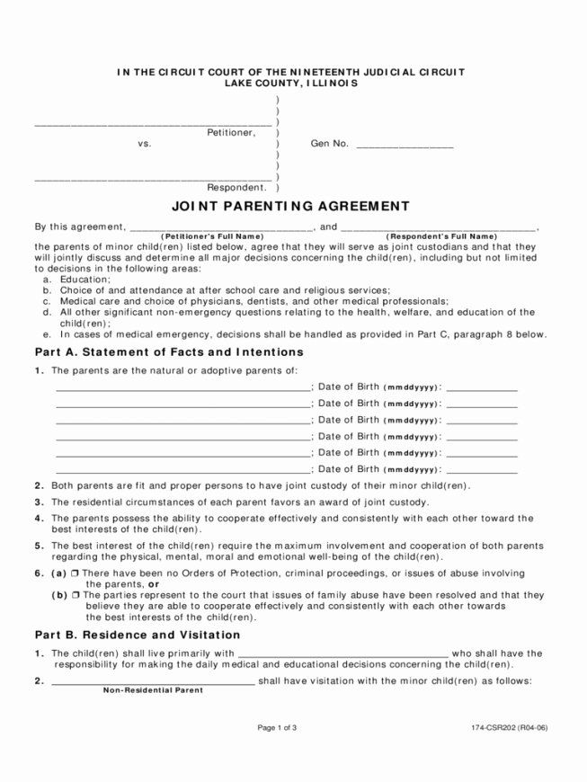 Free Parenting Plan Template In 2020 Custody Agreement Joint