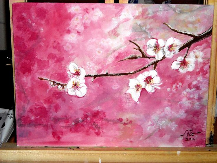 Timelapse acrylic painting Cherry blossoms (how to paint)
