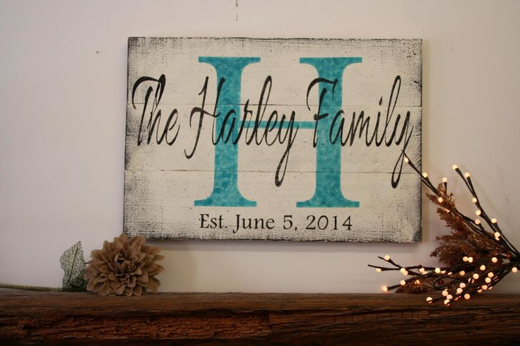 Personalized Name Sign Custom Name Sign Initial Sign Wood Pallet Sign Wedding Gift Bridal Shower Gift Housewarming Gift Distressed Wood Sign by RusticlyInspired on Etsy https://www.etsy.com/listing/198852323/personalized-name-sign-custom-name-sign
