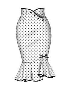 Rockabilly polka dot stretch wiggle skirt