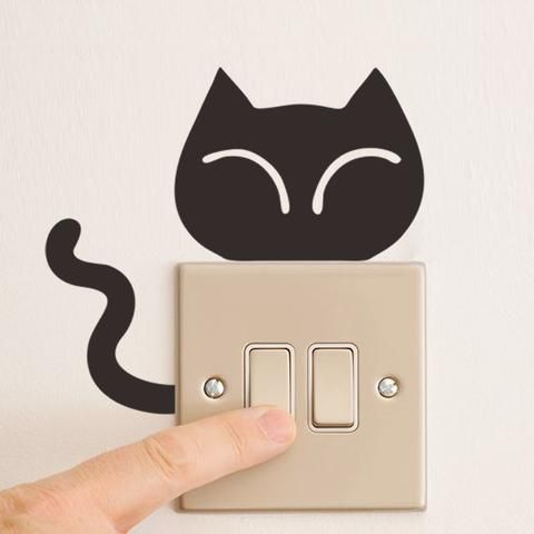 DIY Funny Cute Animal Light Switch Wall Stickers (Multiple Available)