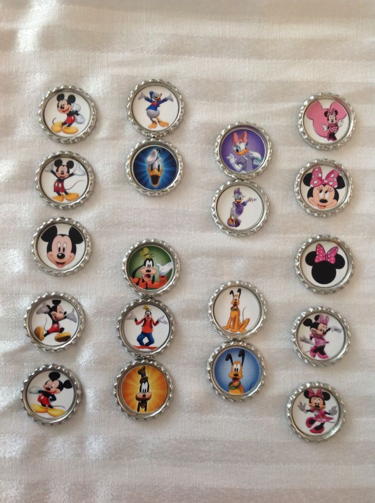 Mickey Mouse Club House inspired Bottle Caps. Can be attached to hair clips, elastics, headbands OR can be made into key chains, backpack clips, necklaces.  Great addition to loot bags/party favours. Images can be customized to match your them. Find us on FaceBook: www.facebook.com/perfectlittleadditions. Contact us via email: perfectlittleadditions@yahoo.ca
