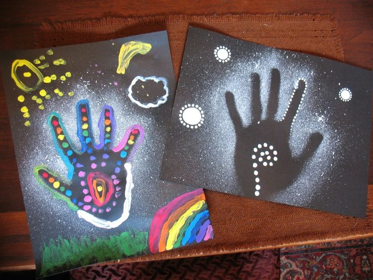 January 22nd, 2013...Aboriginal handprint art project with Cyrus...his on the left, mine on the right :)