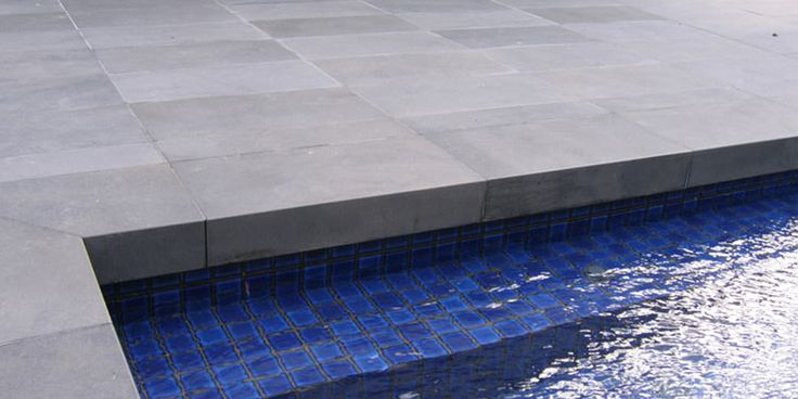 Bluestone Paving Shown With Drop Faced Pool Coping