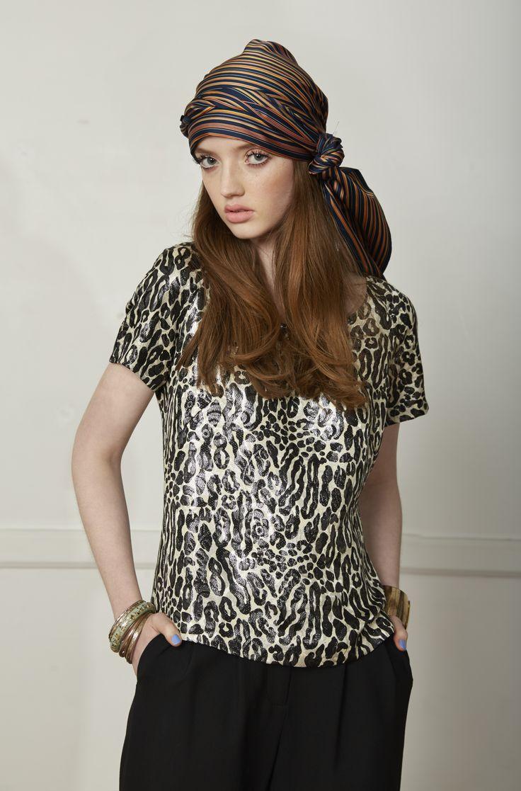 Carlson Flair T Shirt - Leopard Lurex