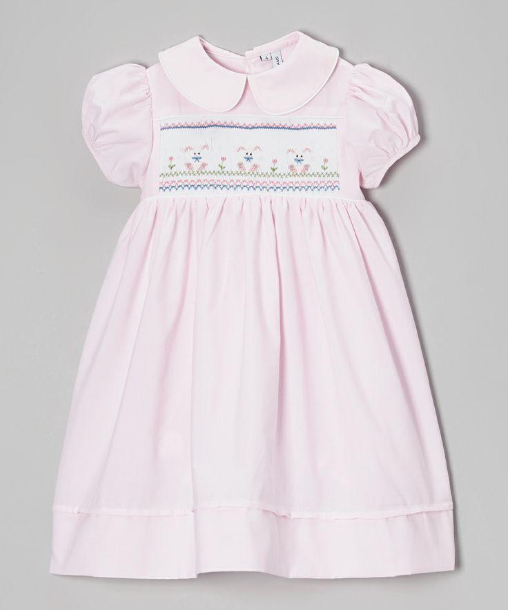 Pink Triple Bunnies Smocked Dress