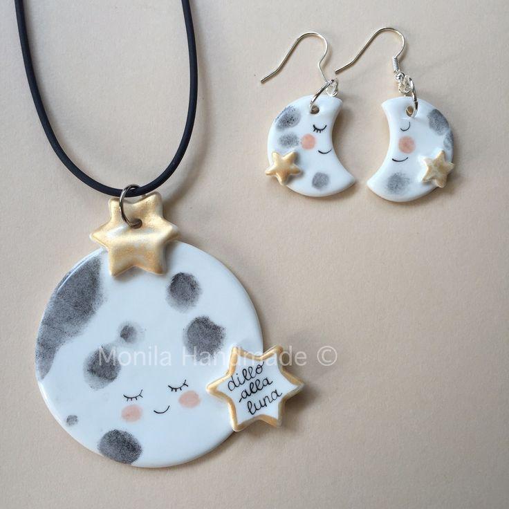 Parure dedicata alla luna con ciondoli in porcellana dipinta a mano : Parure di monila-handmade