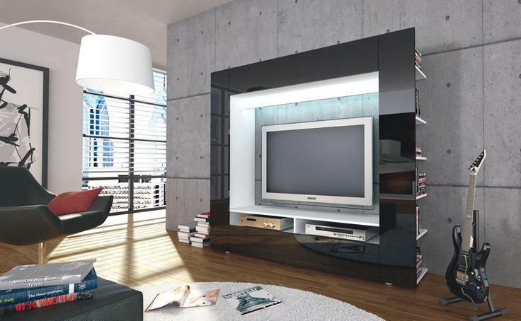 ROLLER TV-Wand OLLI - schwarz Hochglanz - Möbel & Wohnen Online Shop