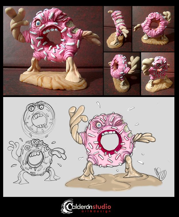 Proyecto de escultura: The Dreadful Donut. Figura que diseñado, esculpido y pintado a mano a partir de un concepto original Sculpture Project: The Dreadful Donut. Figure that I designed, sculpted and handpainted based on an original concept.