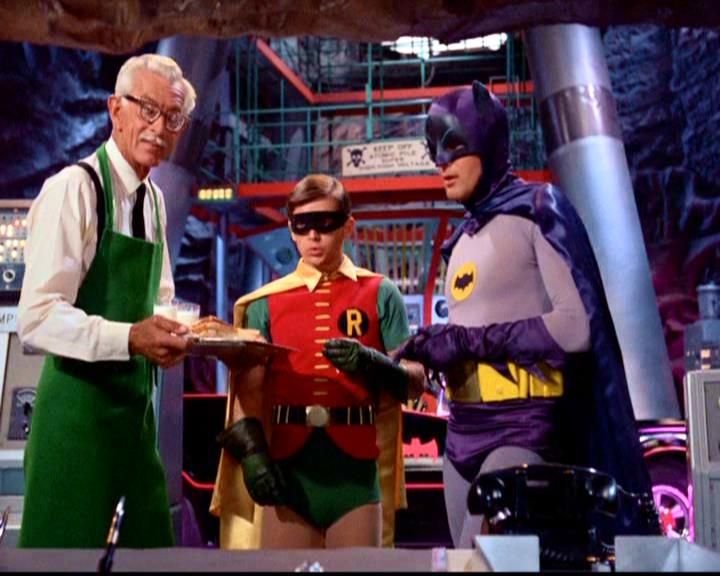 'Alfred' ('Alan Napier'), 'Robin' ('Burt Ward'), and 'Batman' ('Adam West') on 'Batman' TV Series (1966–1968)