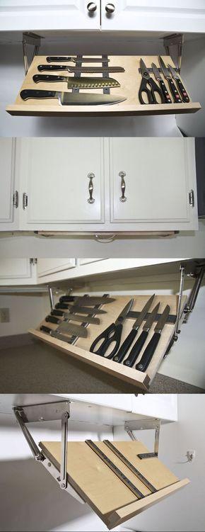 Under-cabinet knife storage. Love this. Seems much safer.