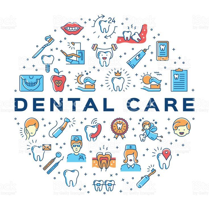 Dental care circle infographics Stomatology icon. Colorful