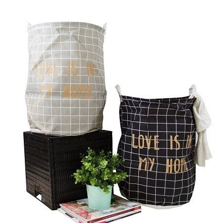 G Home Collection Gold Letter Grid Pattern Fabric Laundry Basket Gray and Black (Set of 2) (Canvas)