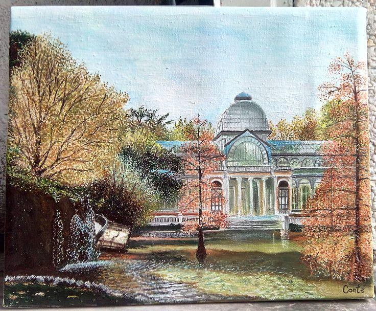 Precioso motivo otoñal, del Palacio de Cristal, Parque del Retiro. Óleo sobre lienz. 27x22.
