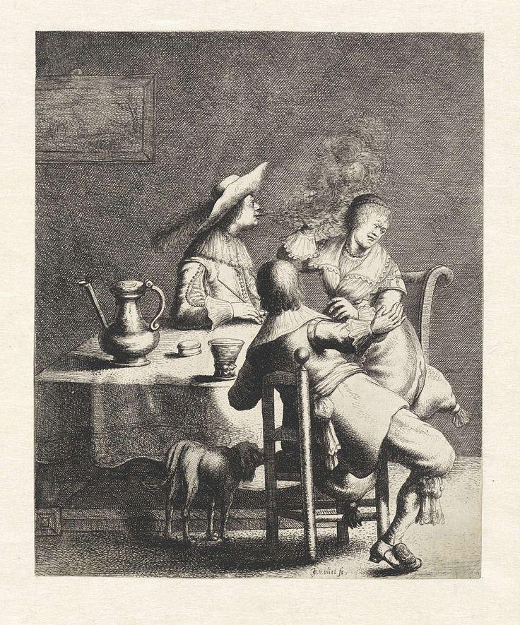 Jan Gillisz. van Vliet | Roker blaast rook naar een vrouw, Jan Gillisz. van Vliet, 1634 | In een interieur zitten rond een tafel twee mannen en een vrouw. Een van de mannen blaast de rook van een pijp uit in de richting van de vrouw die haar hand omhoog houdt. Op de voorgrond een hond. Op de tafel een tinnen kan, een roemer en een tabaksdoos.
