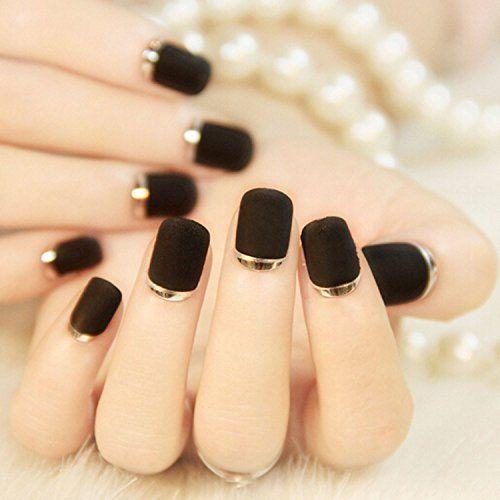 Nail Extension Designs Bridalvenus 24 Pcs False Nail Black Vintage French Matte…