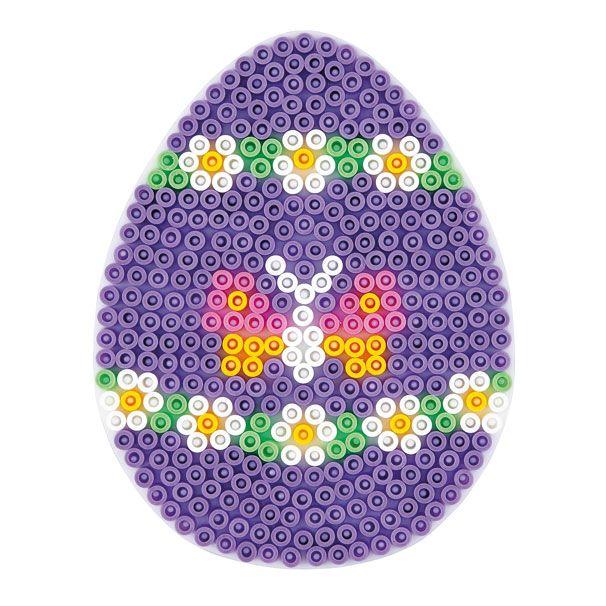 Hama strijkkralenbordje in de vorm van een ei. Exclusief strijkkralen.Afmeting:9,5 x 12,5 cm - Hama Strijkkralenbordje - Ei