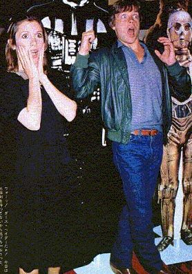 """Carrie Fisher and Mark Hamill react to the news that Luke and Leia are siblings.  --- I love their reactions.  """"But...we kissed!"""""""