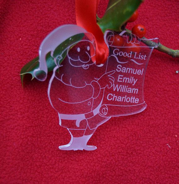 Santa's good list decoration personalised decoration